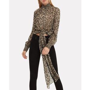 NICHOLAS Silk Leopard Print Tie Mock Neck Blouse S